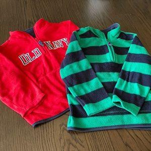 Set of two Old Navy boys 3T fleece half zip pullover sweaters